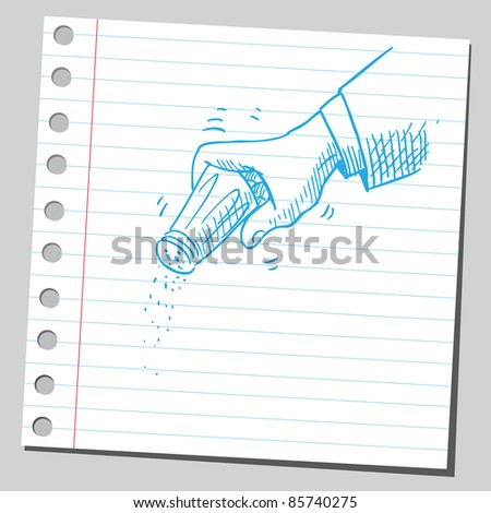 Sketchy illustration of a salt shaker in hand - stock vector