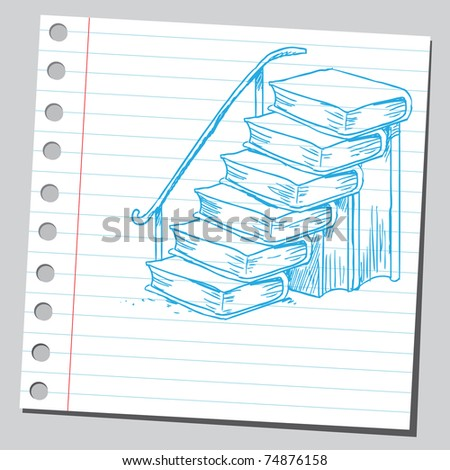 Sketchy illustration of a stairs made of books - stock vector