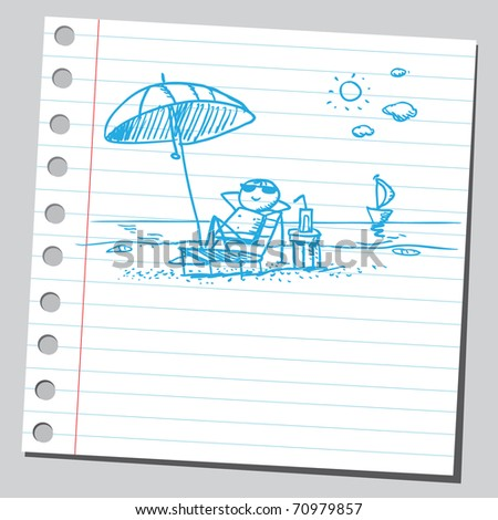 Sketchy illustration of a summer scene - stock vector