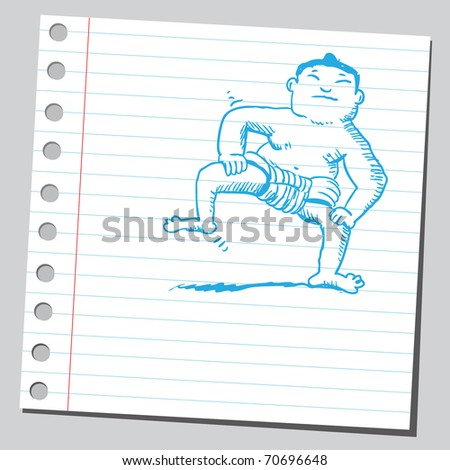 Sketchy illustration of a sumo wrestler - stock vector