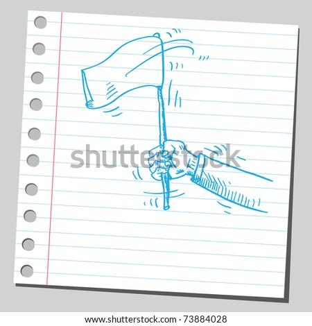 Sketchy illustration of a surrender flag - stock vector