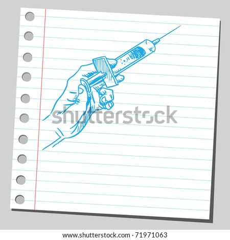 Sketchy illustration of a syringe in hand - stock vector