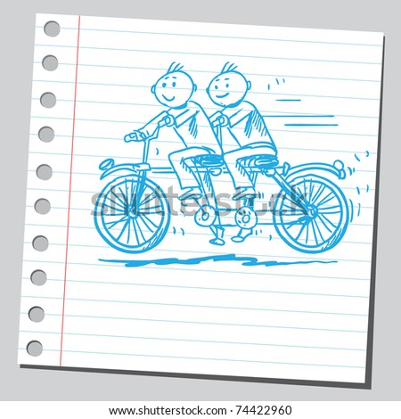 Sketchy illustration of a tandem bike - stock vector