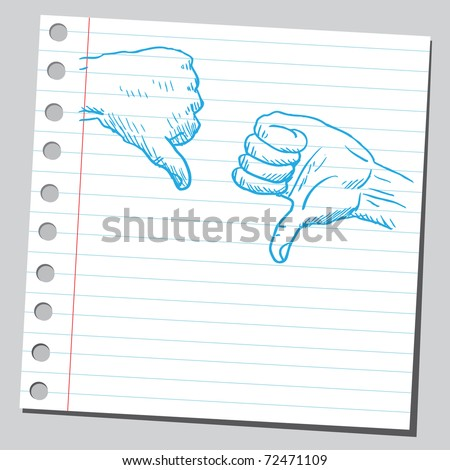 Sketchy illustration of a thumbs down