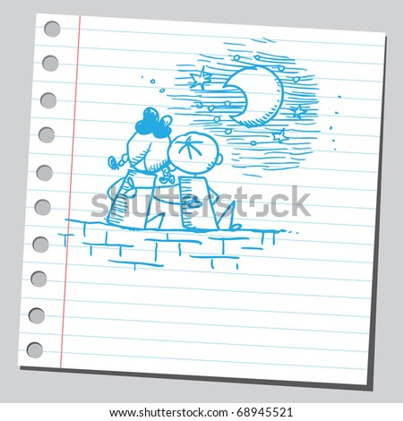 Sketchy illustration of a two children in love - stock vector