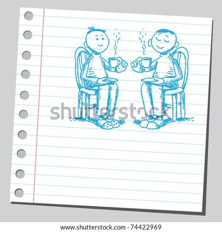 Sketchy illustration of a two friends drinking coffee - stock vector