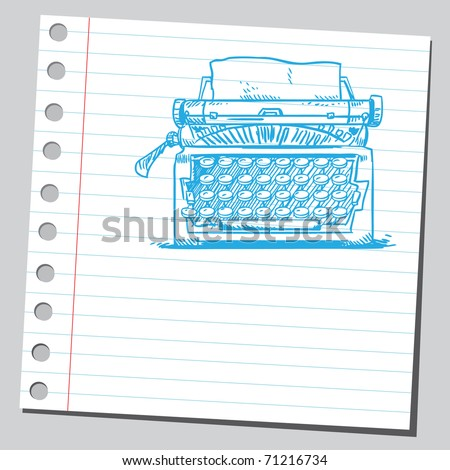 Sketchy illustration of a typewriter machine - stock vector