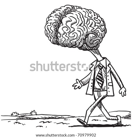Sketchy illustration of a walking brain - stock vector