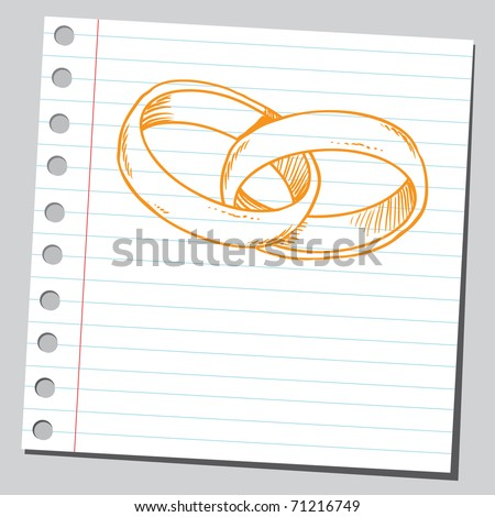 Sketchy illustration of a wedding rings - stock vector