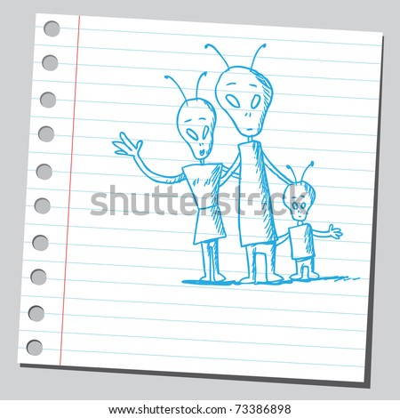 Sketchy illustration of an alien family