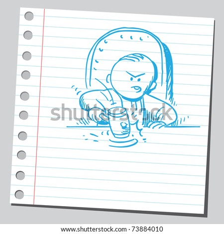 Sketchy illustration of an angry judge - stock vector