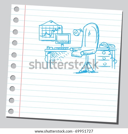 Sketchy illustration of an office - stock vector