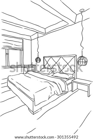 Sketchy illustration of bedroom interior in black and white, modern style - stock vector
