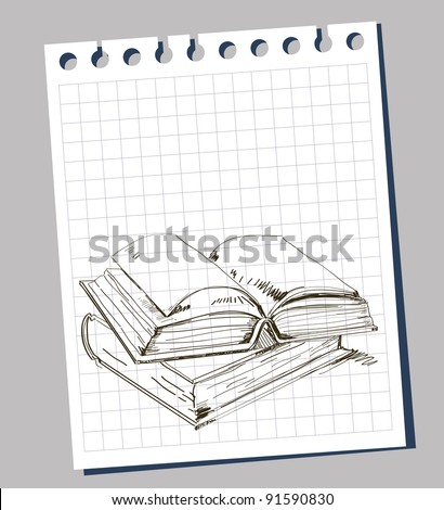Sketchy illustration of open book - stock vector