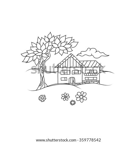 House Plan besides Hallmark Modular Homes T121632 1 also Homme Toutes Mains Propose Services Varies 1146012 also 513021957 also Sketchy Line Art Drawing Cottage House 359778542. on front yard 1