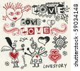 sketchy love doodles, vector design elements - stock vector