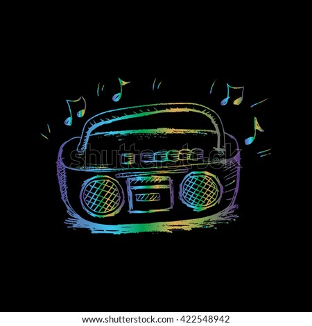 sketchy retro radio - stock vector