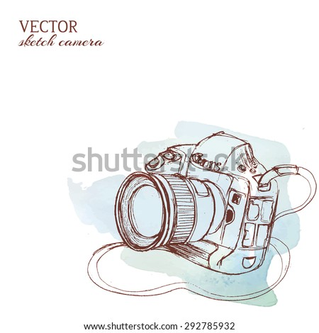 Sketchy rough vector camera with watercolor background - stock vector