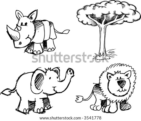 Sketchy Safari group Vector Illustration - stock vector