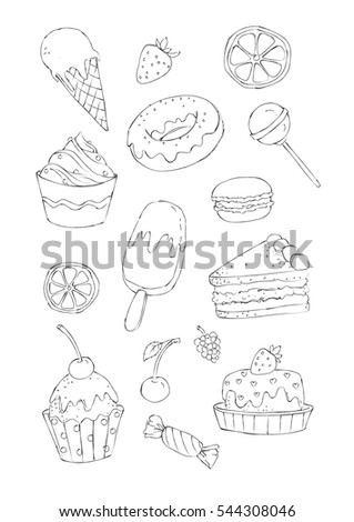 sketchy style image set of sweet cakes and candies for a coloring book colored version - Lollipop Pictures To Color