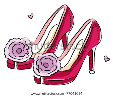 Sketchy style woman high heels - stock vector
