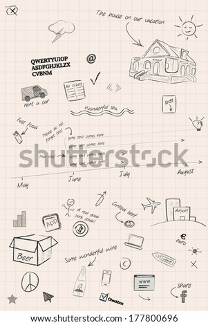 Sketchy timeline and planning notes - stock vector