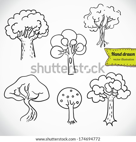 Sketchy tree set isolated, vector illustration hand drawn - stock vector