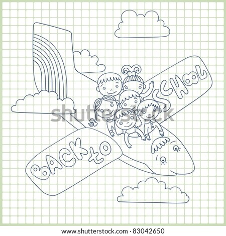 "Sketchy vector  group of schoolchildren fly in an airplane with text ""back to school""."