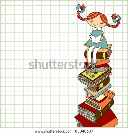 Sketchy vector  of schoolgirl sitting on the heap of books and reading one of them on paper  in a cell background  with place for your text. Color version - stock vector
