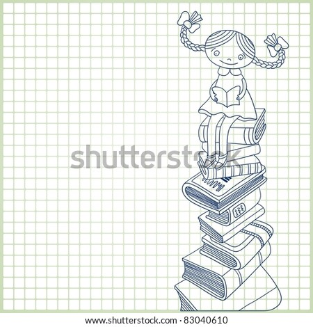 Sketchy vector  of schoolgirl sitting on the heap of books and reading one of them on paper  in a cell background  with place for your text - stock vector