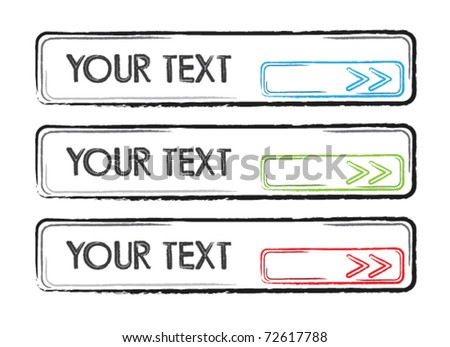 Sketchy web application buttons vector set - stock vector