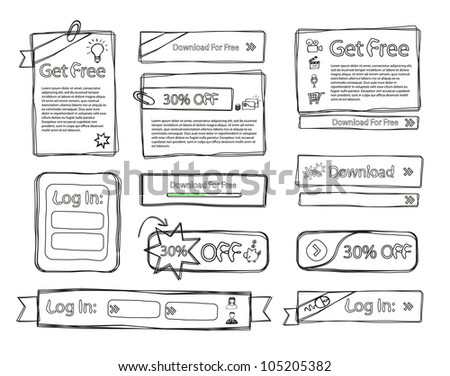 Sketchy Web set doodle - stock vector