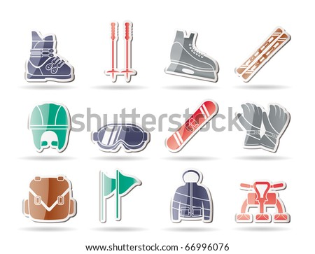 ski and snowboard equipment icons - vector icon set - stock vector