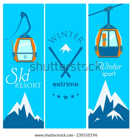 Ski banner with lift, skiing, snowboarding, mountains, on a blue background. - stock vector