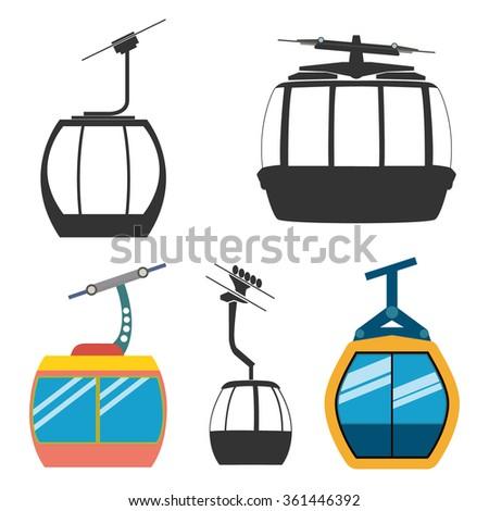 Ski cable car - stock vector