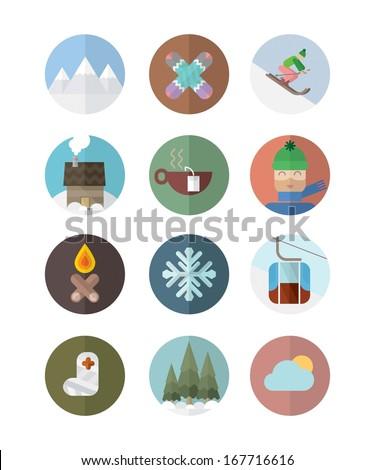 Ski flat icons - stock vector