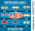 Ski glasses with the flags of countries members for winter games. Vector illustration, eps 10, contains transparencies. - stock photo