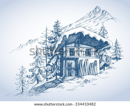 Ski hut in mountains resort - stock vector