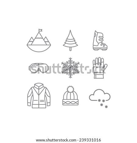 Ski icons outline - stock vector