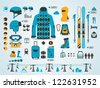 ski info graphics, vector symbols - stock vector