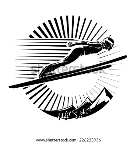 Ski jumping. Vector illustration in the engraving style - stock vector
