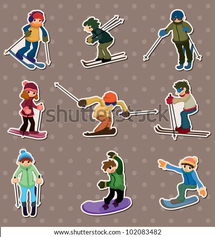 ski player stickers - stock vector