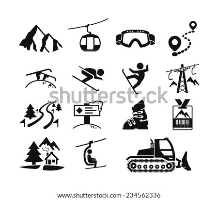 Ski resort icons - stock vector