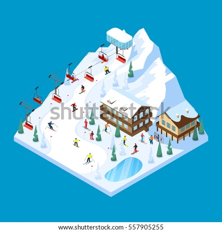 Ski resort tiled isometric landscape design stock vector for Ski design hotel