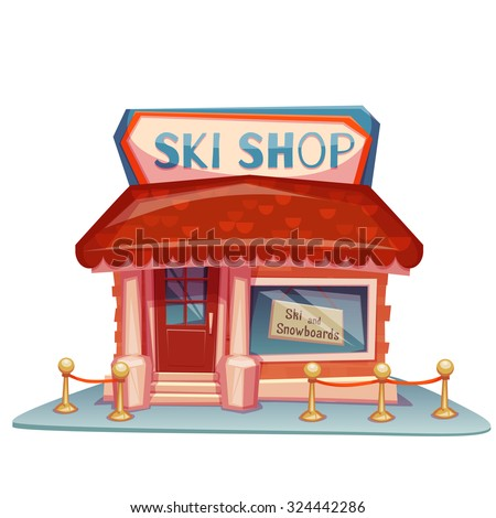 Ski shop building with bright banner. Vector illustration. - stock vector