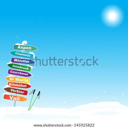 Ski trip illustration with most famous ski destinations - stock vector
