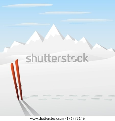 ski with montain on background eps10 - stock vector