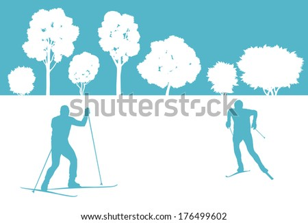 Skier in winter forest vector background abstract concept - stock vector