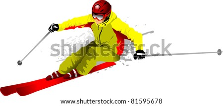 skier on the highway (vector illustration); - stock vector