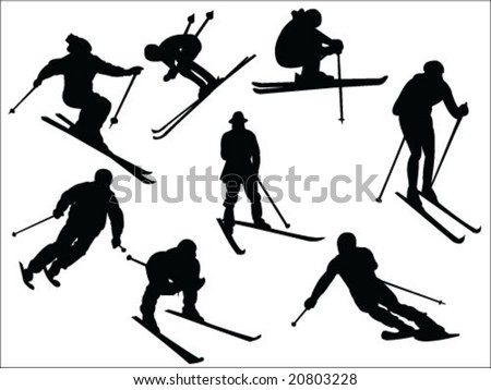 skier silhouette collection vector